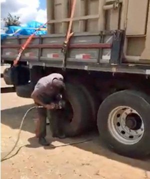 Flat tire on Rana's truck