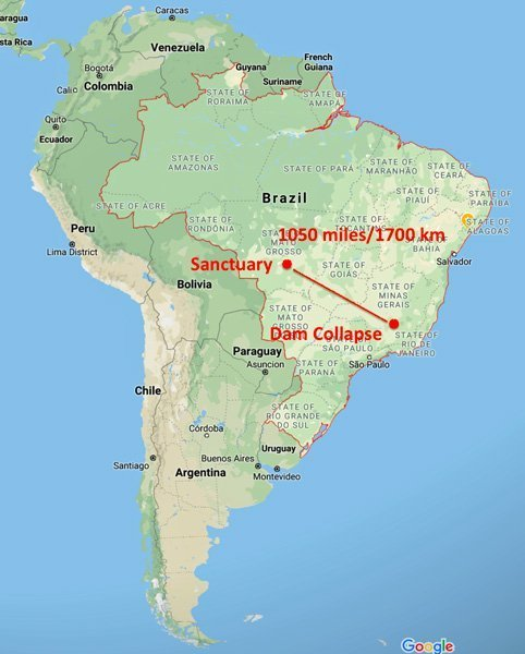 Location of Brazil dam collapse map