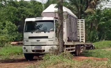 Lady's transport container leaving the sanctuary